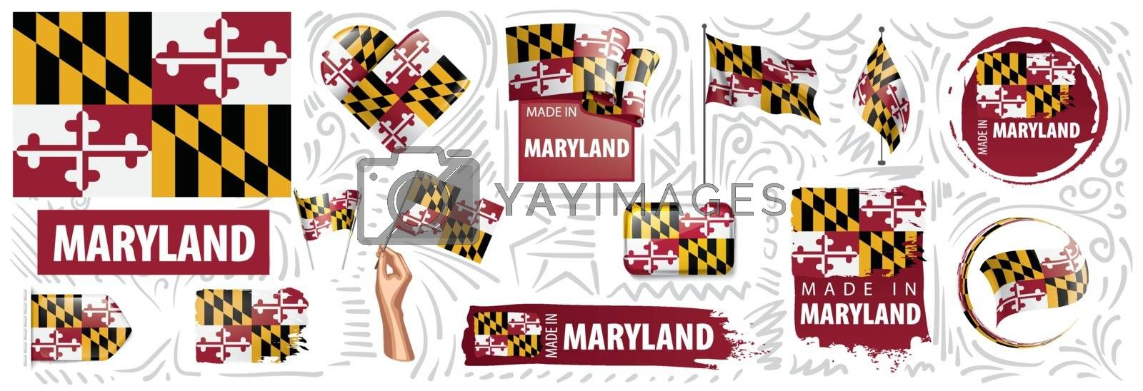 Vector set of flags of the American state of Maryland in different designs.