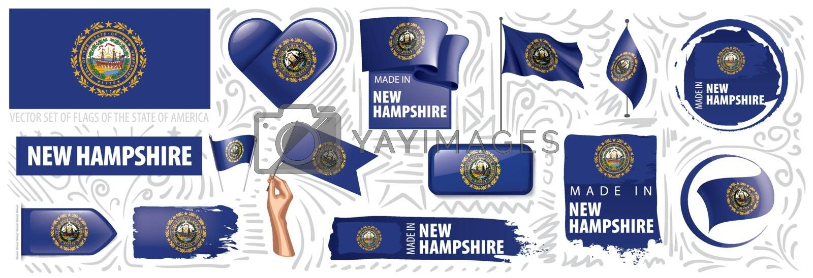 Vector set of flags of the American state of New Hampshire in different designs.