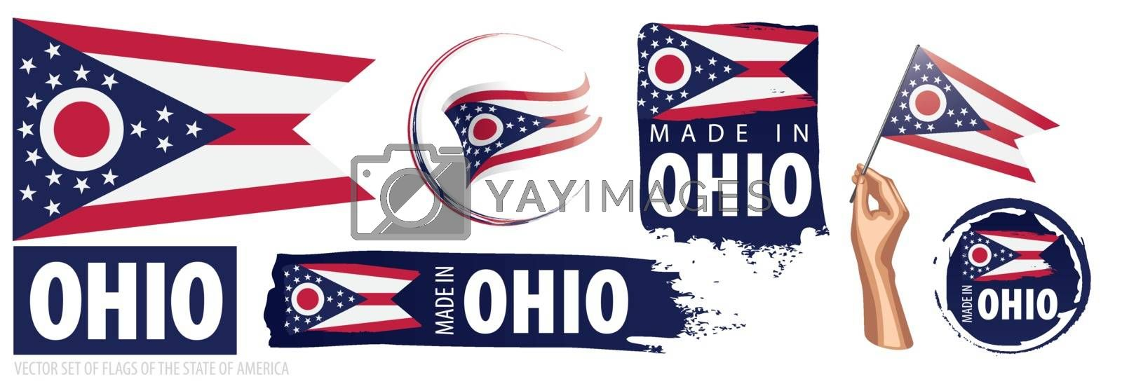 Vector set of flags of the American state of Ohio in different designs.