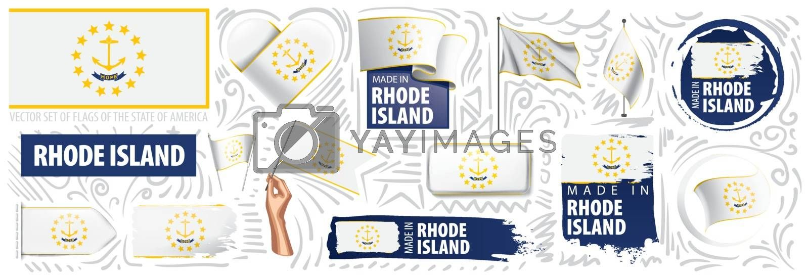 Vector set of flags of the American state of Rhode island in different designs.
