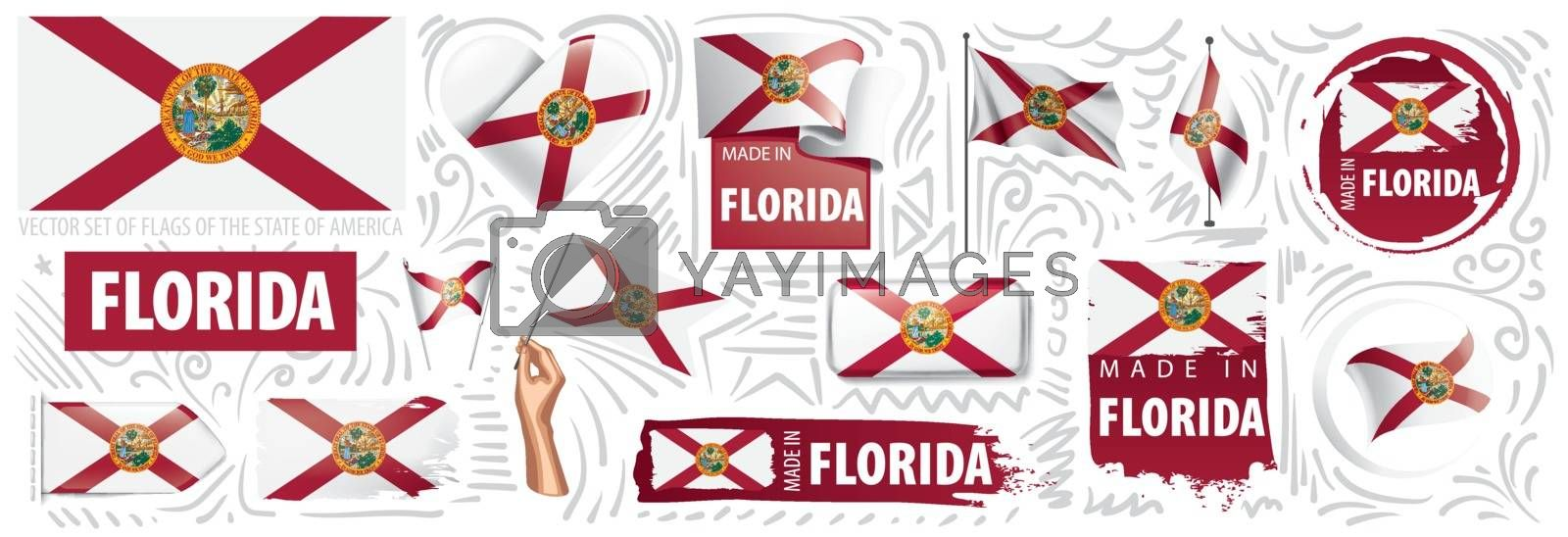 Vector set of flags of the American state of Florida in different designs.