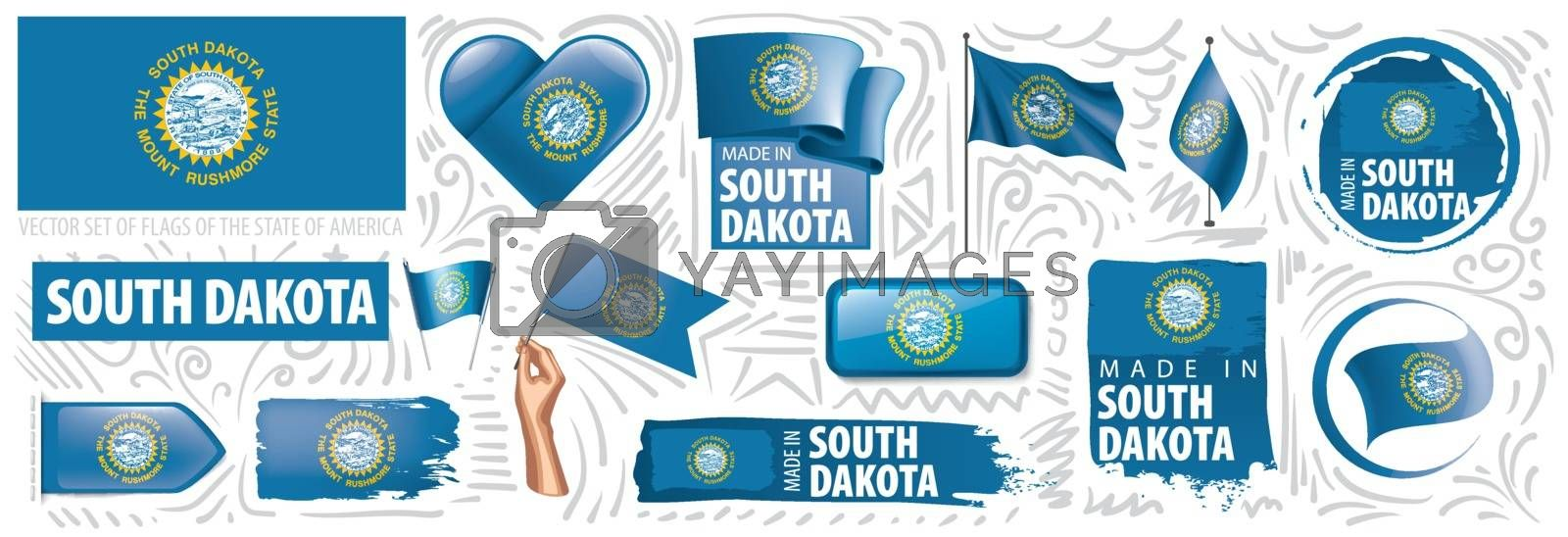 Vector set of flags of the American state of South Dakota in different designs.