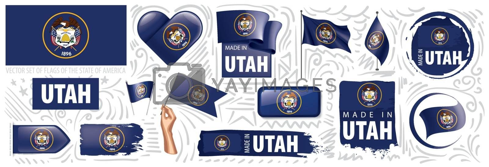 Vector set of flags of the American state of Utah in different designs.