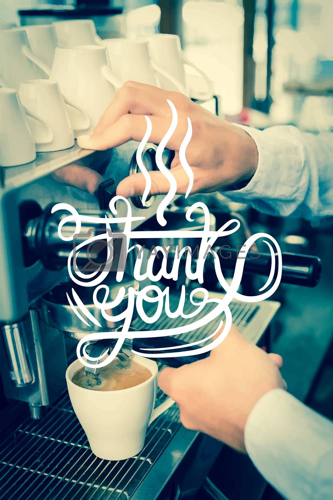 Digitally generated Thank you over barista at work vector