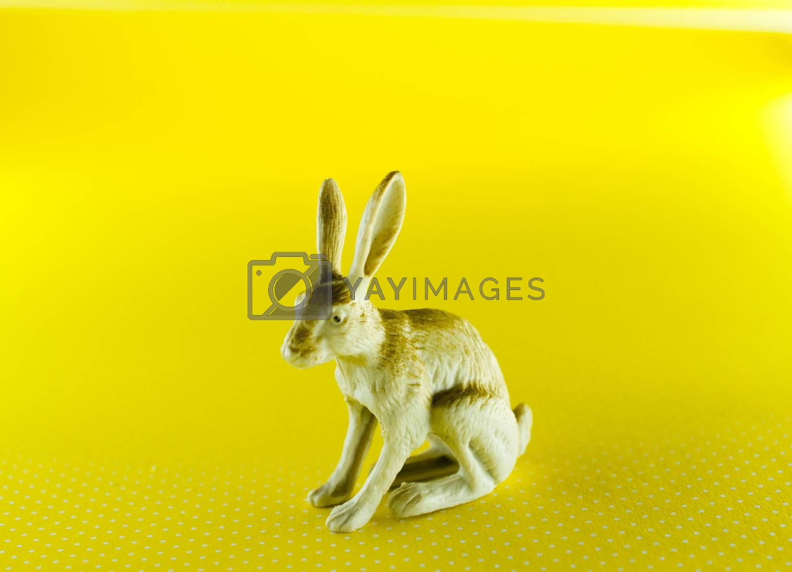 plastic figurine of a rabbit on yellow background image