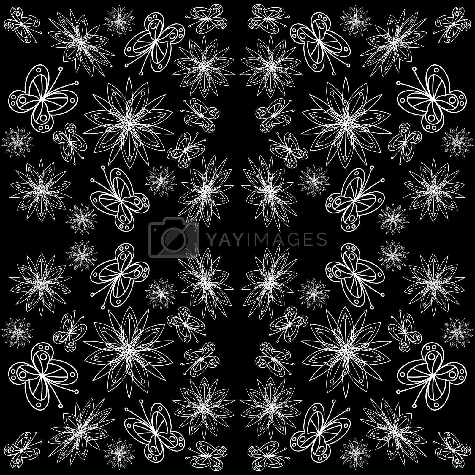 Linocut style meadow flowers - seamless pattern. Wildflowers in modern cutout style isolated on background, vector illustration for textile, wallpaper.