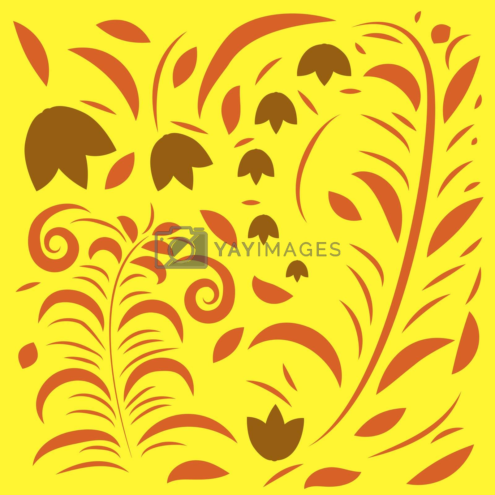 Elegant seamless pattern with yellow flowers, vector illustration