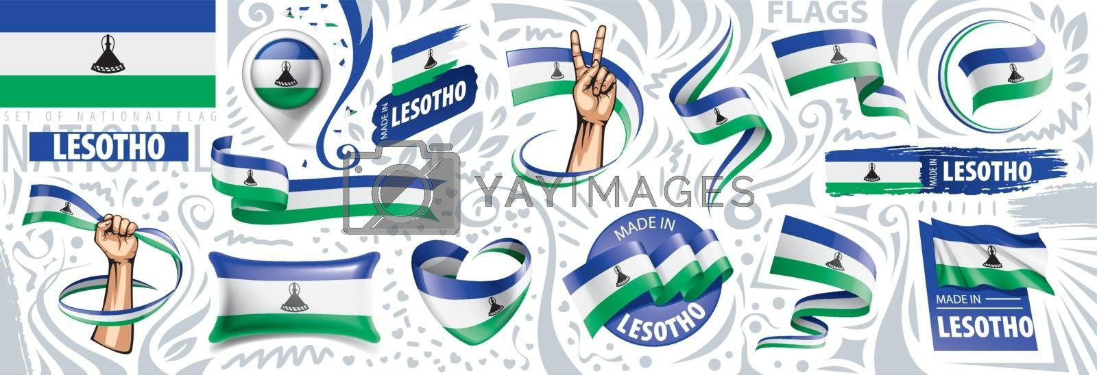 Vector set of the national flag of Lesotho in various creative designs.