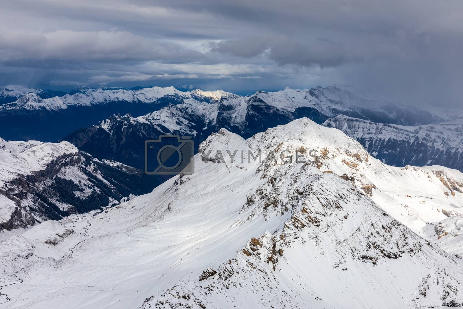 Snow capped mountains range during winter in Shilthorn, Switzerland.
