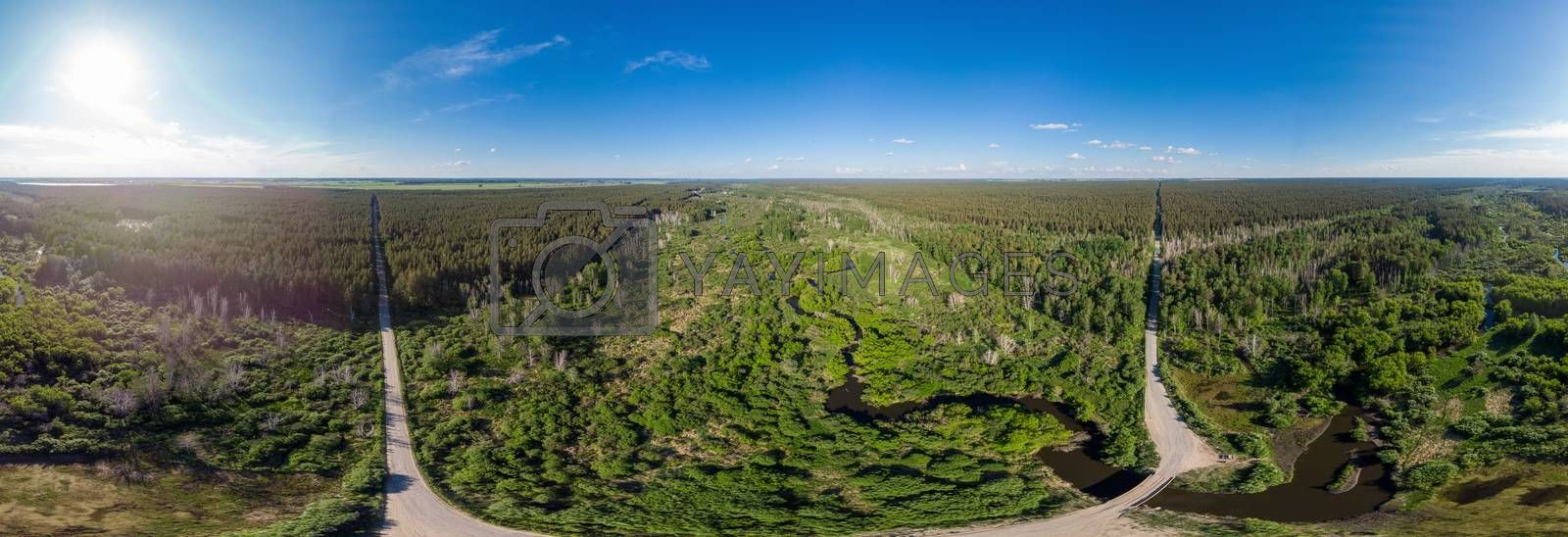 Full 360 equirectangular spherical panorama of aerial top vew with a beautiful landscape with a lake two roads, forest and river . Virtual reality content
