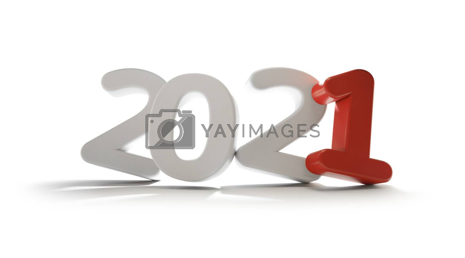 2021 white red bold letters isolated 3d-illustration