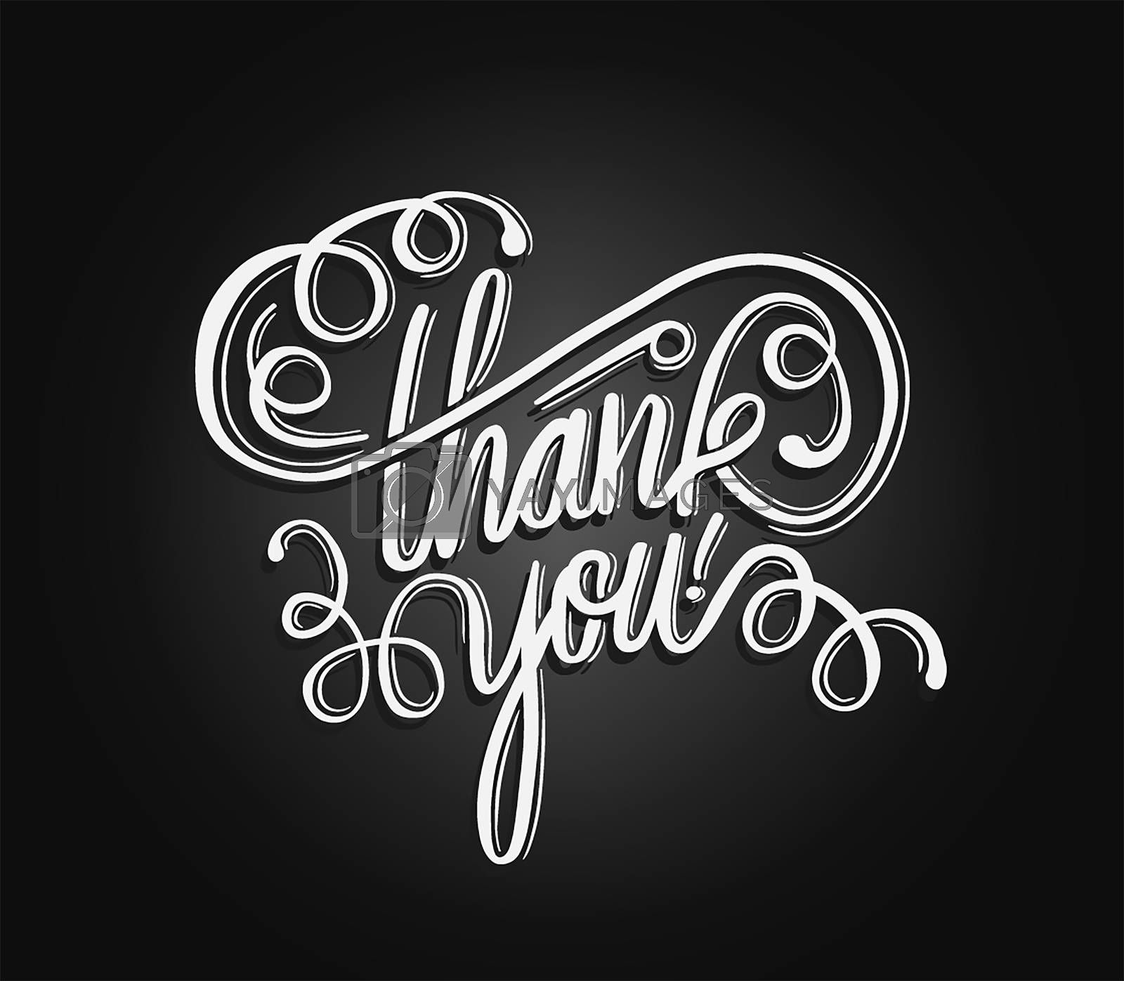 Digitally generated Thank you in cursive script vector