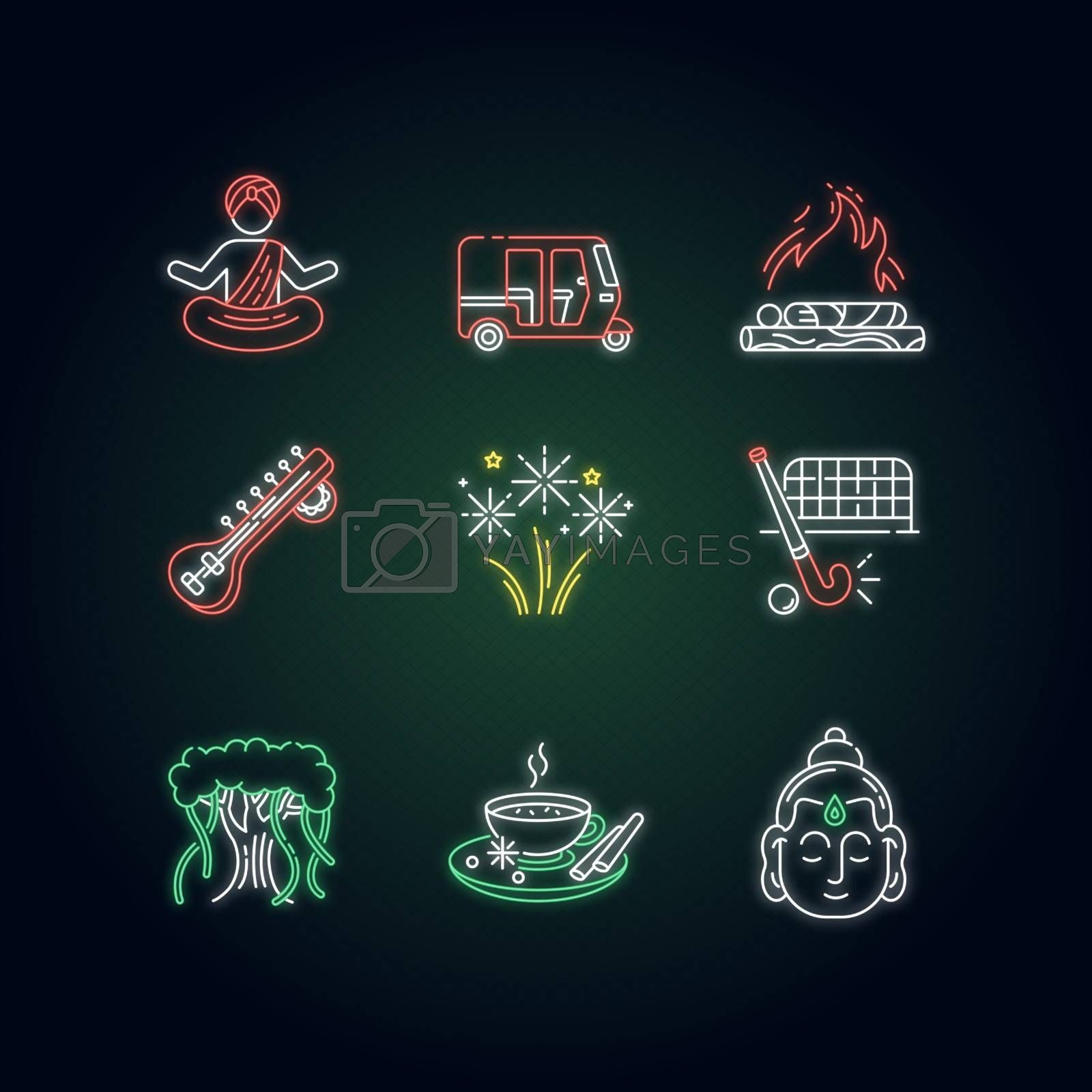 Indian customs neon light icons set. Religious symbols. Buddha. Sitar. Yoga practitioner. Hindu funeral. Tuk tuk. Banyan tree. Signs with outer glowing effect. Vector isolated RGB color illustrations