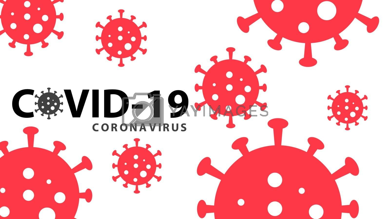 Covid-19 coronavirus pandemic outbreak banner. Black text red color on white background. Stay at home quarantine concept. Health care and medical vector.