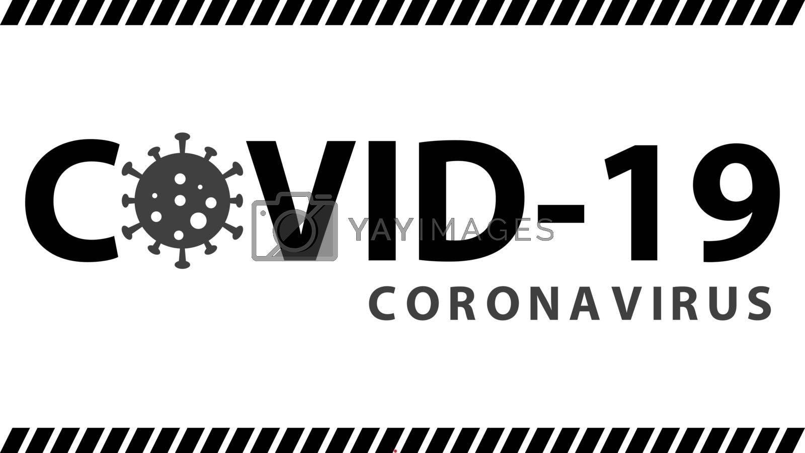 Covid-19 coronavirus pandemic outbreak minimal black and white banner. Stay at home quarantine concept. Health care and medical vector.