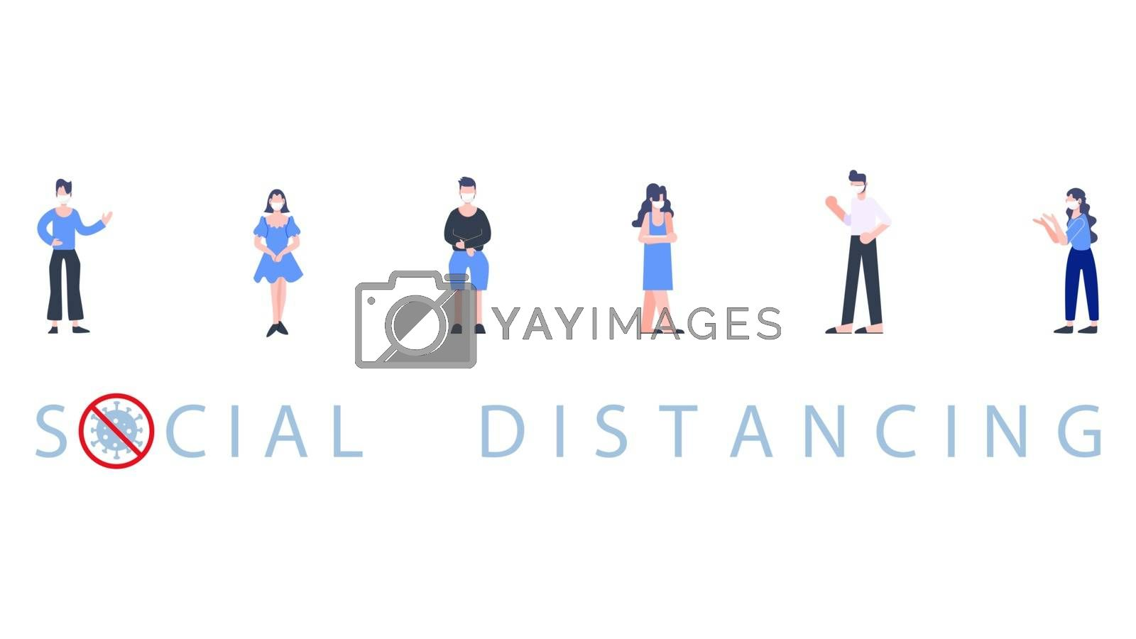 Group of people standing wearing mask separate physical distancing. Social distancing. Covid-19 coronavirus pandemic outbreak banner. Health care and medical vector.