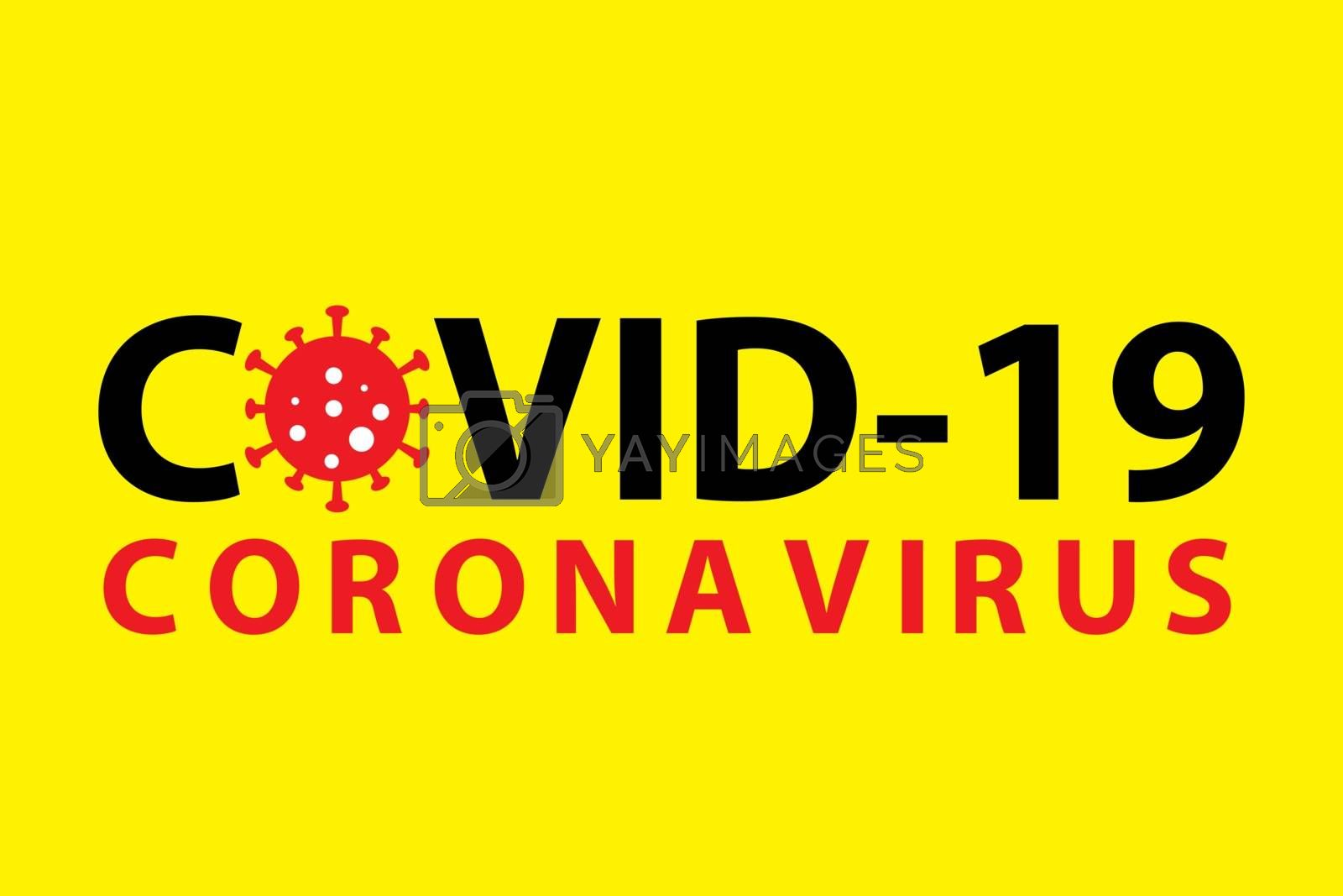 Covid-19 coronavirus pandemic outbreak banner. Yellow minimal background. Stay at home quarantine concept. Health care and medical vector.