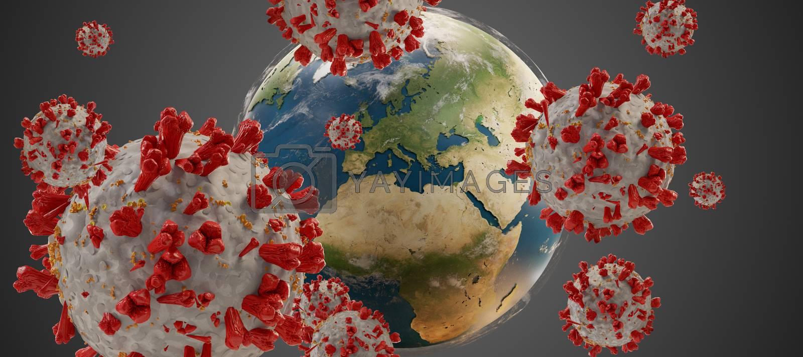 global virus COVID-19 Coronavirus symbolic detailed design background 3d-illustration