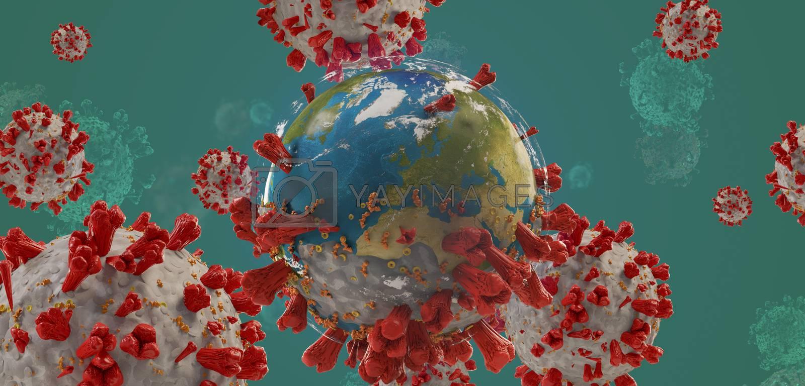 global virus COVID-19 Coronavirus symbolic detailed design background 3d-illustration. elements of this image furnished by NASA