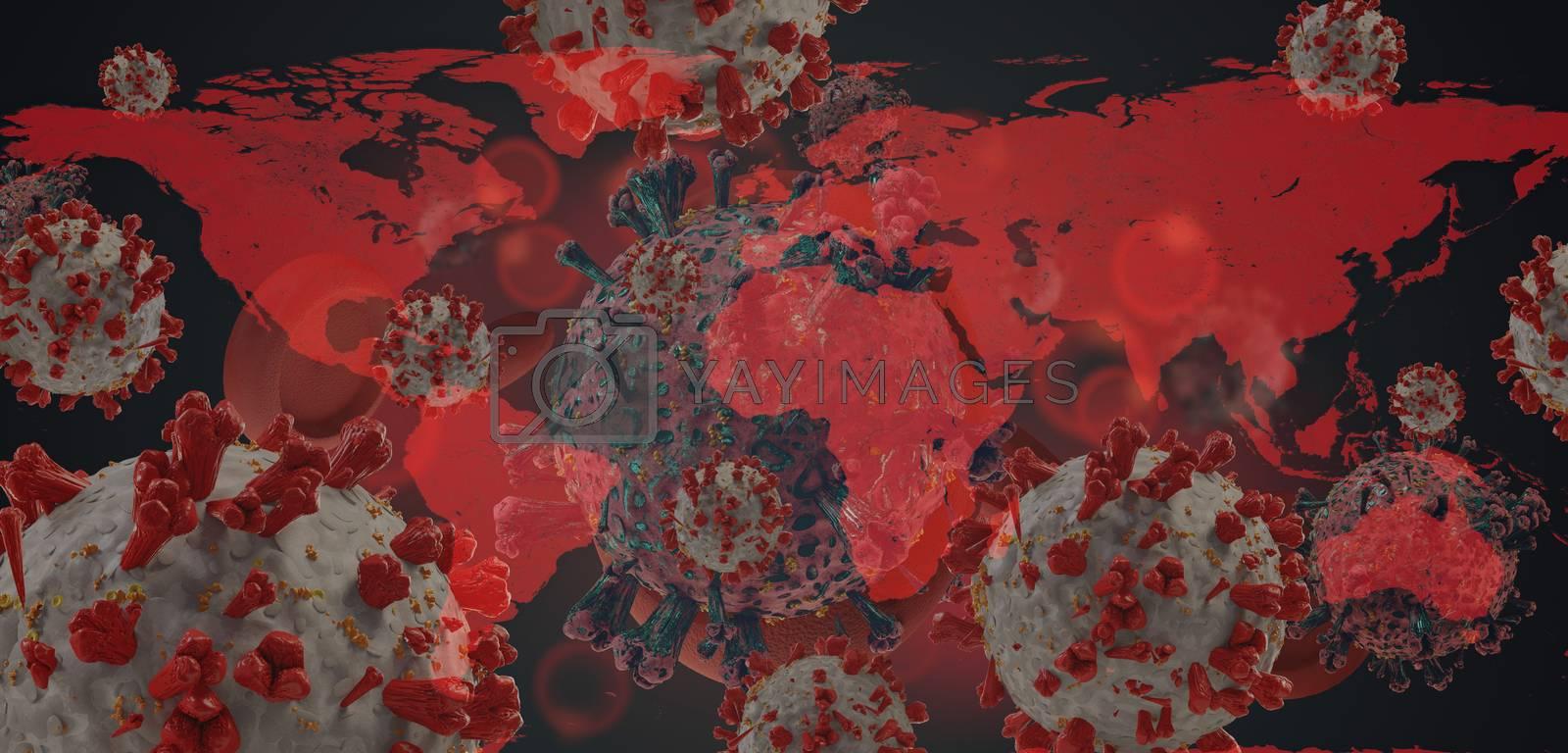 world map virus COVID-19 Coronavirus symbolic detailed design background 3d-illustration. elements of this image furnished by NASA