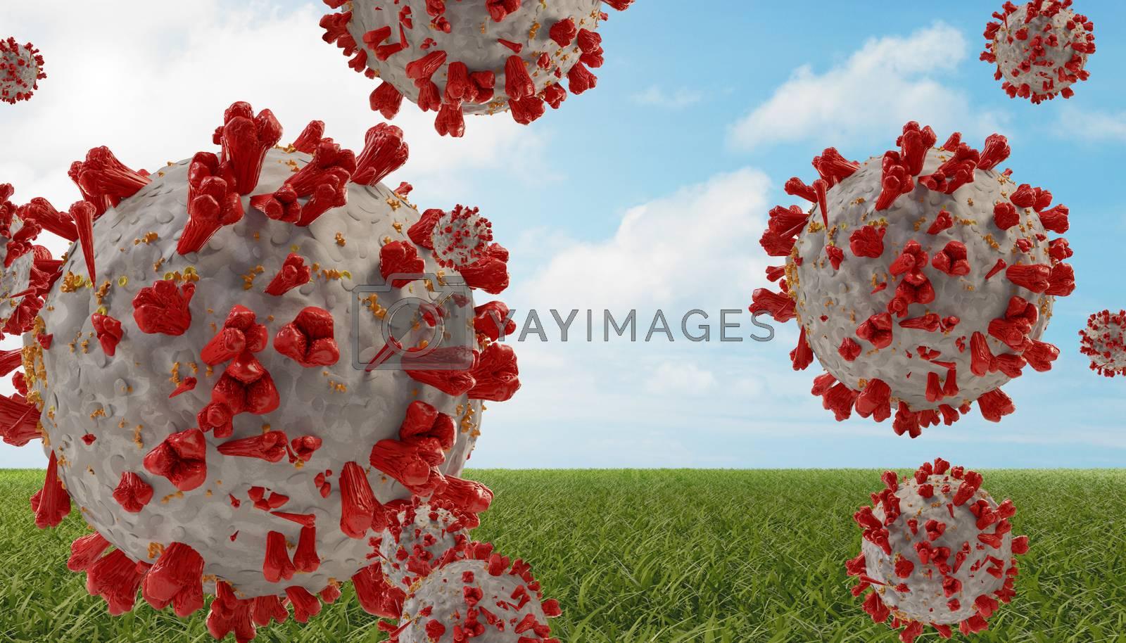 outdoor meadow sky and virus COVID-19 Coronavirus symbolic detailed design background 3d-illustration