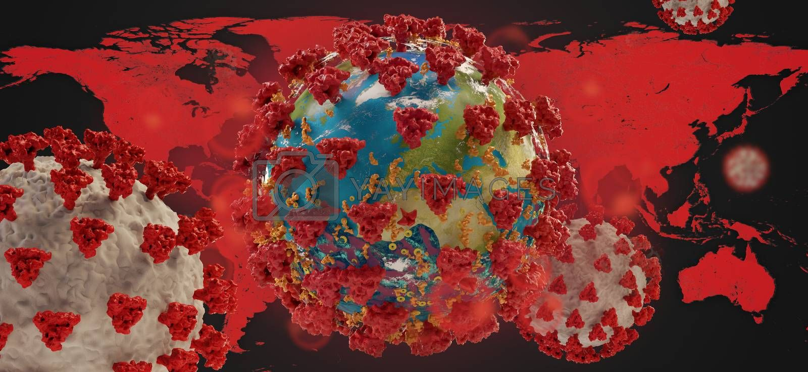 Coronavirus COVID-19 world map and globe background. elements of this image furnished by NASA