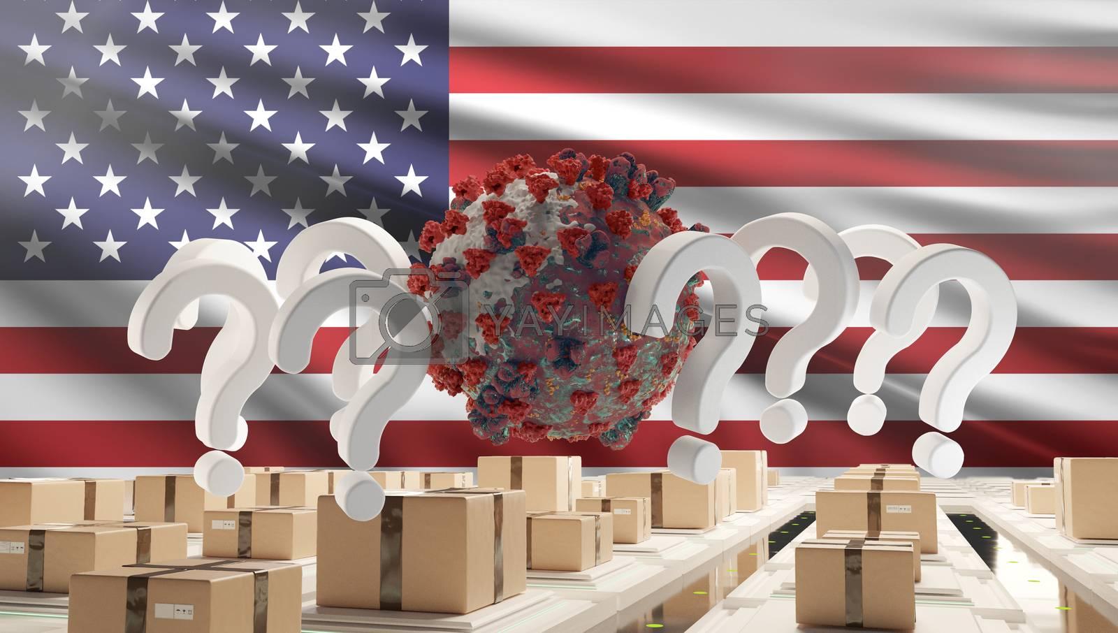 flag of USA question marks Coronavirus Covid-19 symbolic 3d-illustration