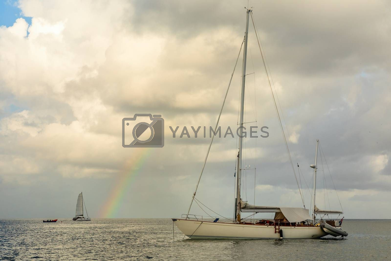 Yachts at  Rodney bay with rainbow in the backround, Saint Lucia, Caribbean sea