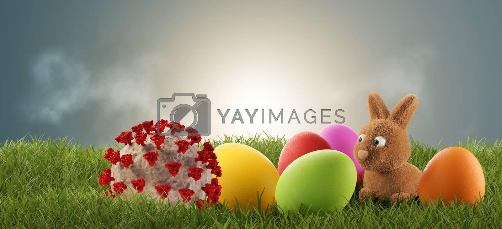 cute little Easter bunny discovers a Coronavirus. 3d-illustration