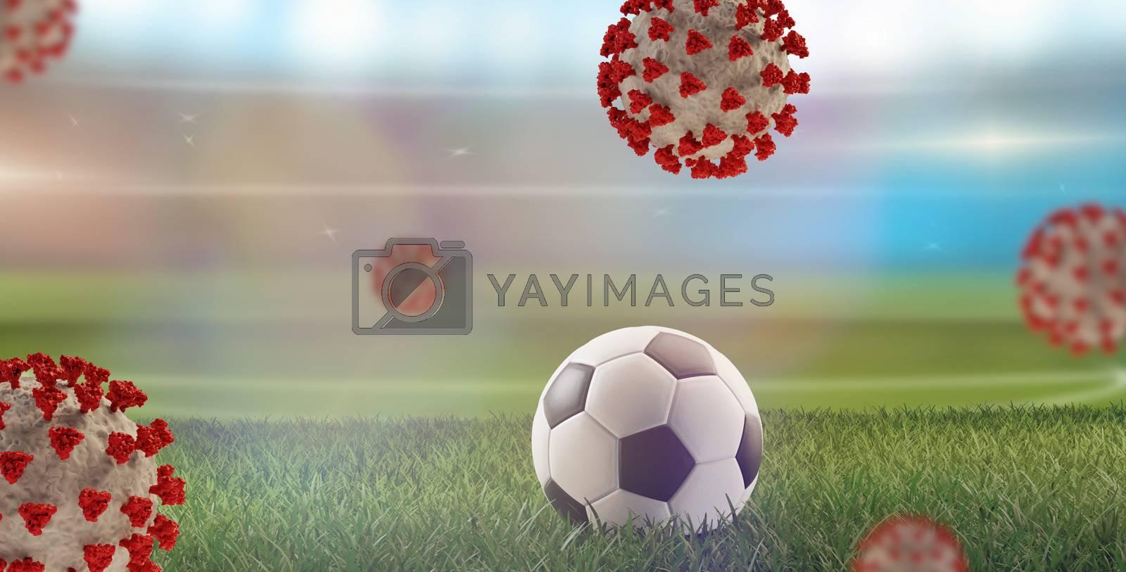soccer ball Coronavirus Covid-19 symbolic 3d-illustration