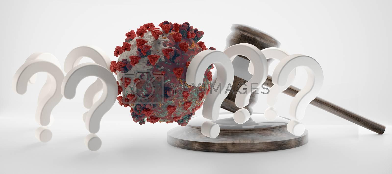 question marks judge gavel Coronavirus Covid-19 symbolic 3d-illustration