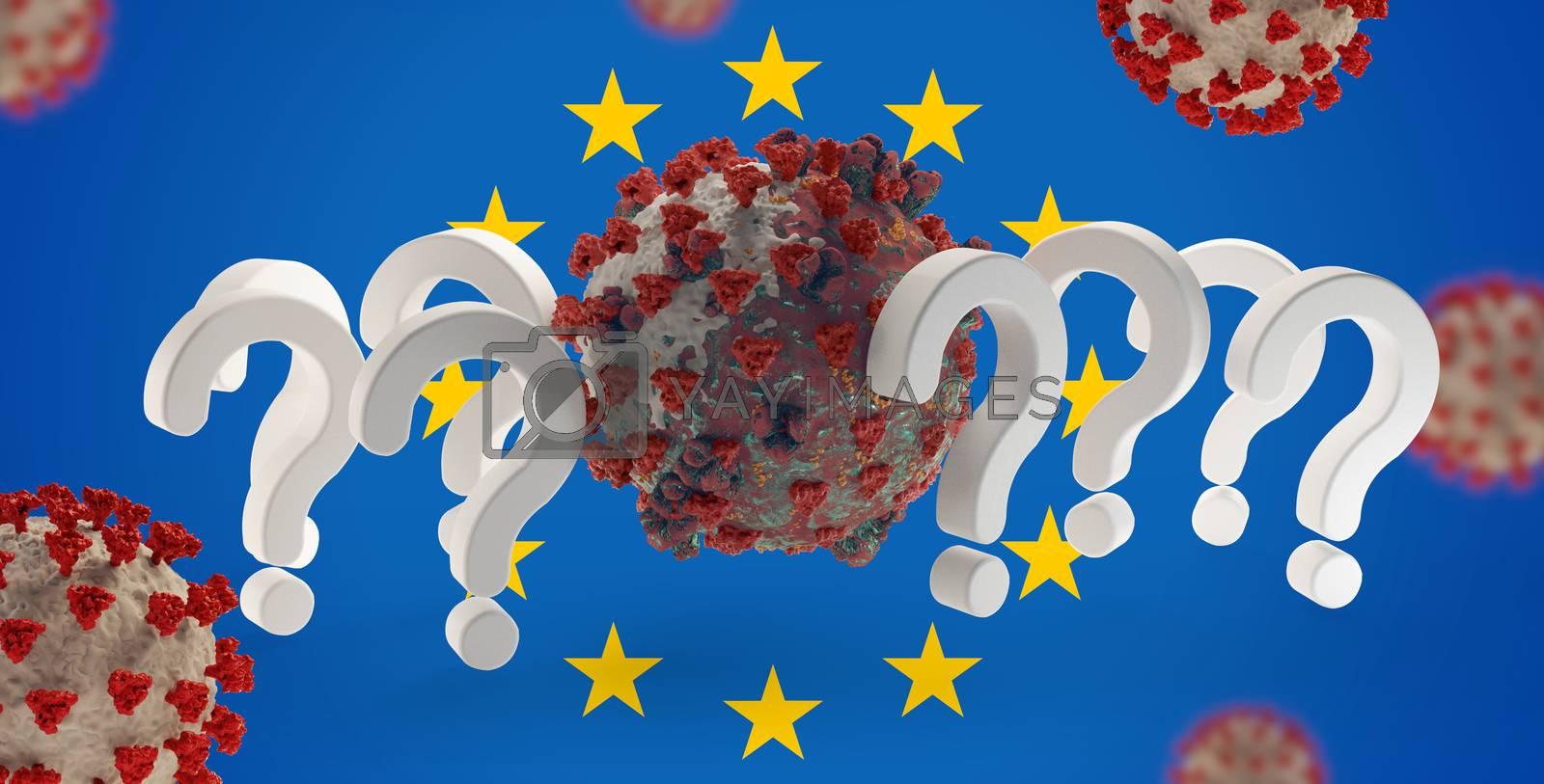 question marks Europe Coronavirus Covid-19 symbolic 3d-illustration