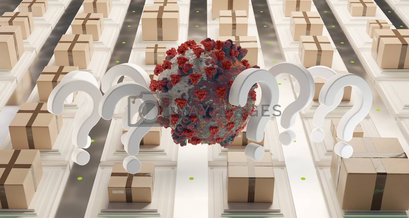 question marks packages Coronavirus Covid-19 symbolic 3d-illustration
