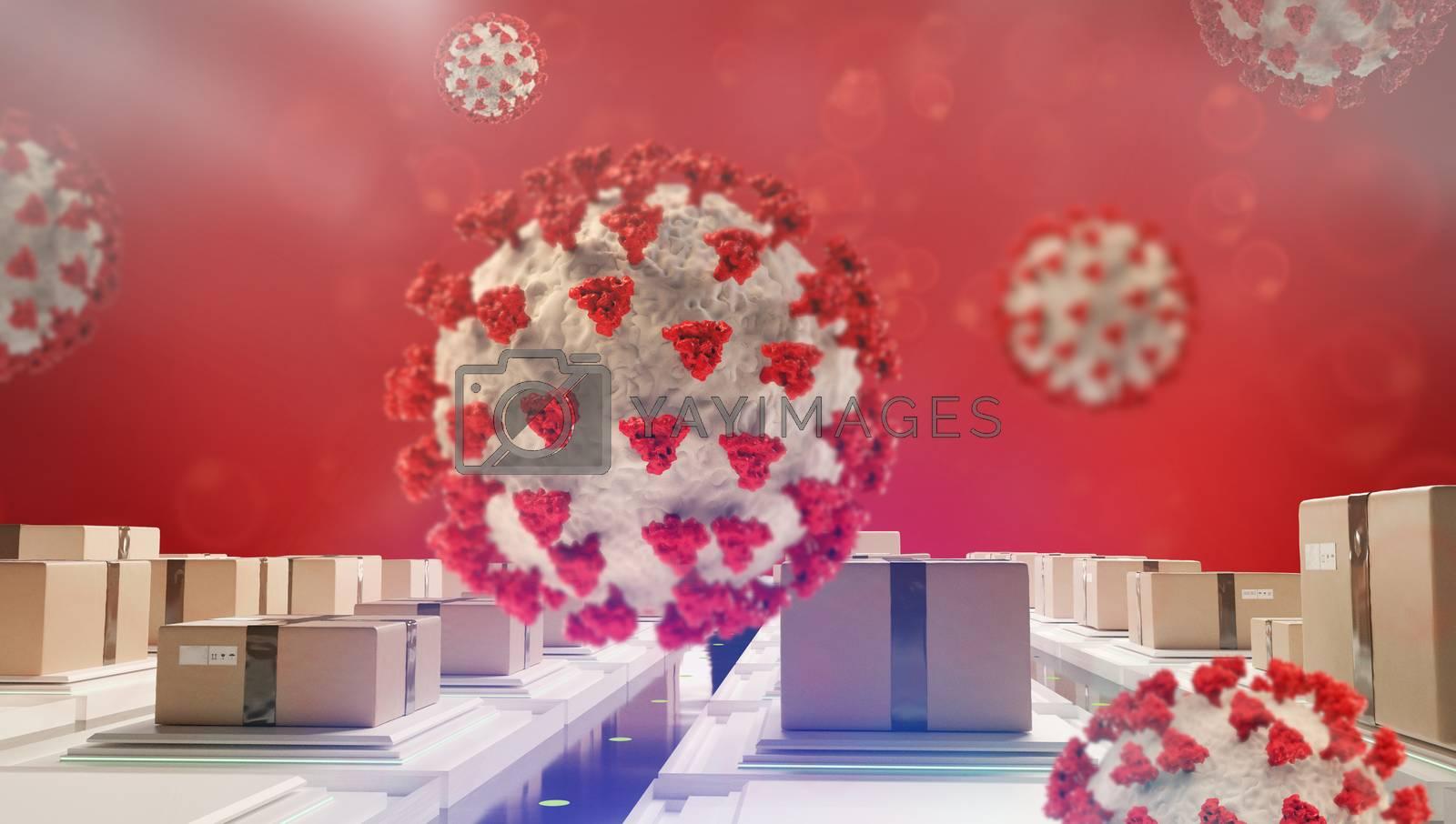 supply concept of SARS-CoV-2 2019-ncov Coronavirus 3d-illustration