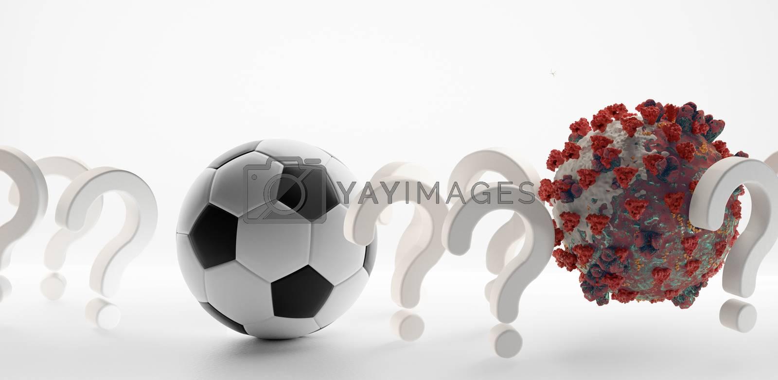 soccer ball question marks Coronavirus Covid-19 symbolic 3d-illustration