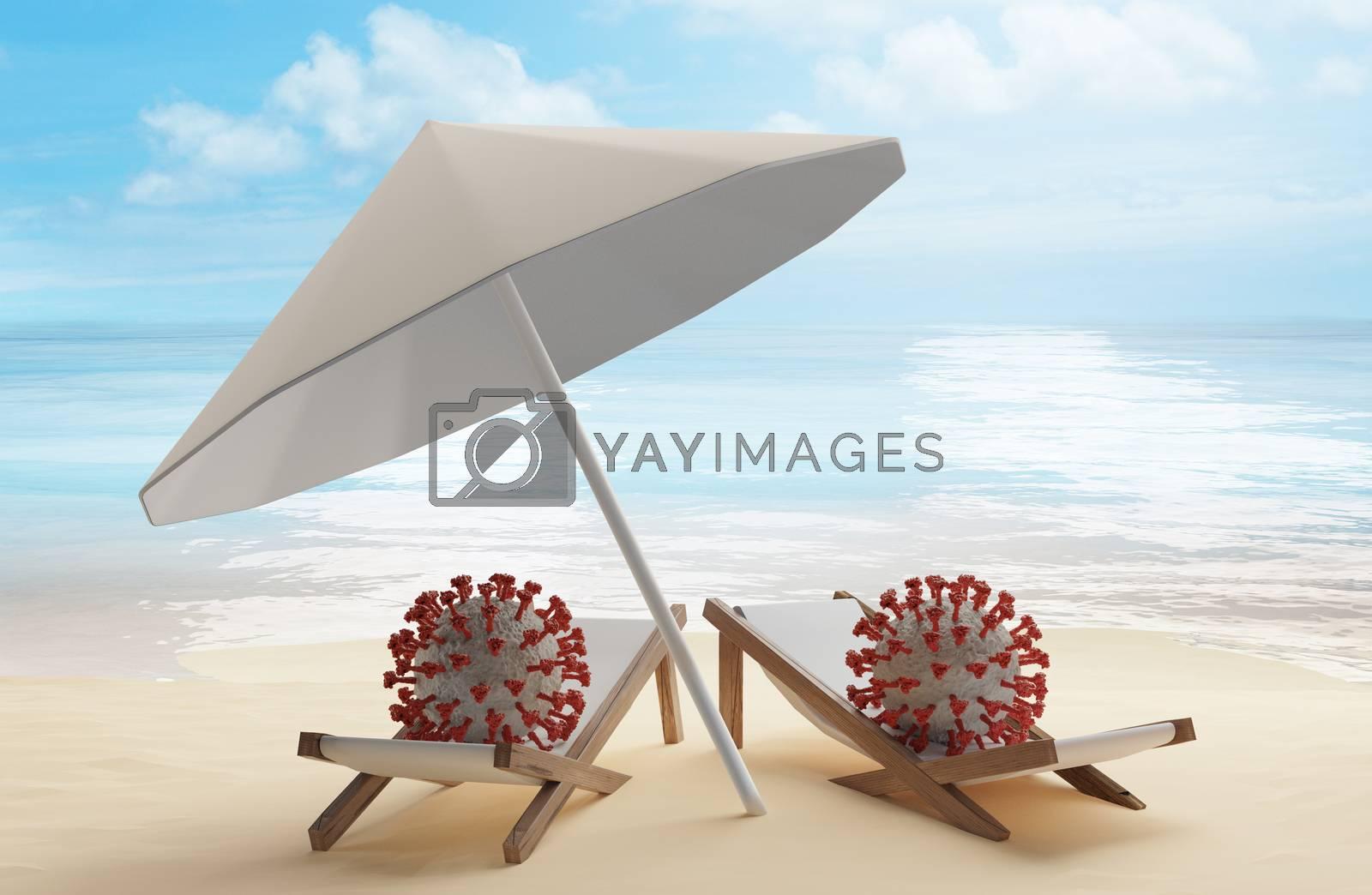 concept of summer travel and SARS-CoV-2 2019-ncov Coronavirus 3d-illustration