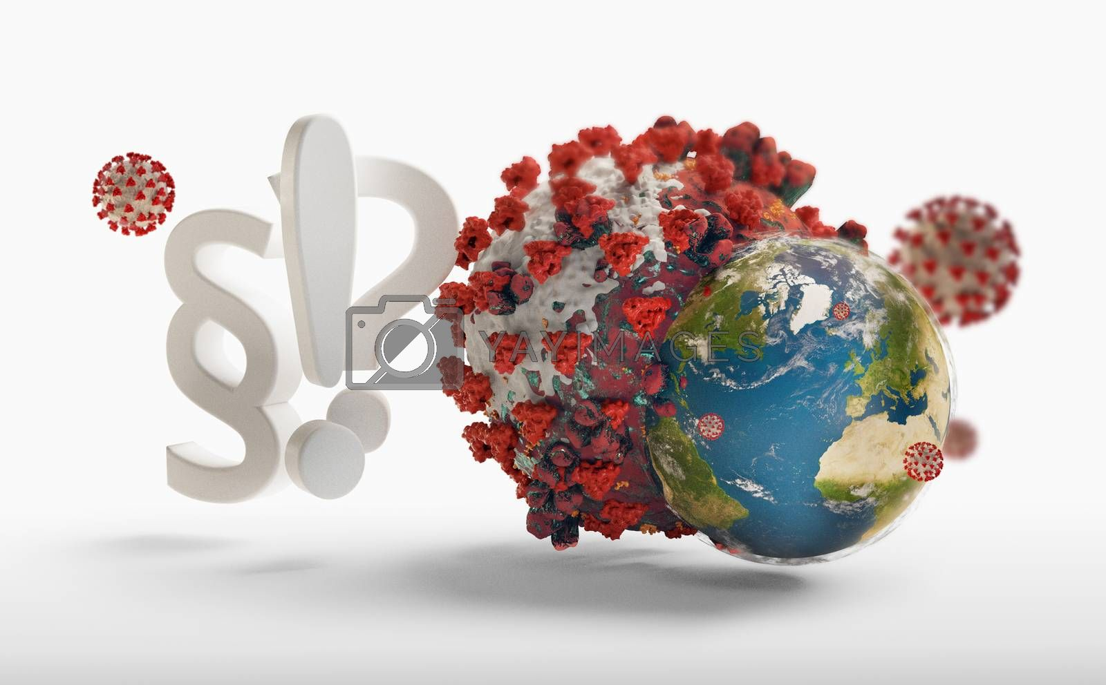 question mark and exclamation mark Concept of SARS-CoV-2 2019-ncov Coronavirus 3d-illustration. elements of this image furnished by NASA