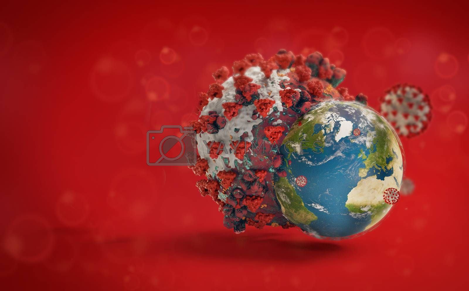 planet globe concept of SARS-CoV-2 2019-ncov Coronavirus 3d-illustration. elements of this image furnished by NASA