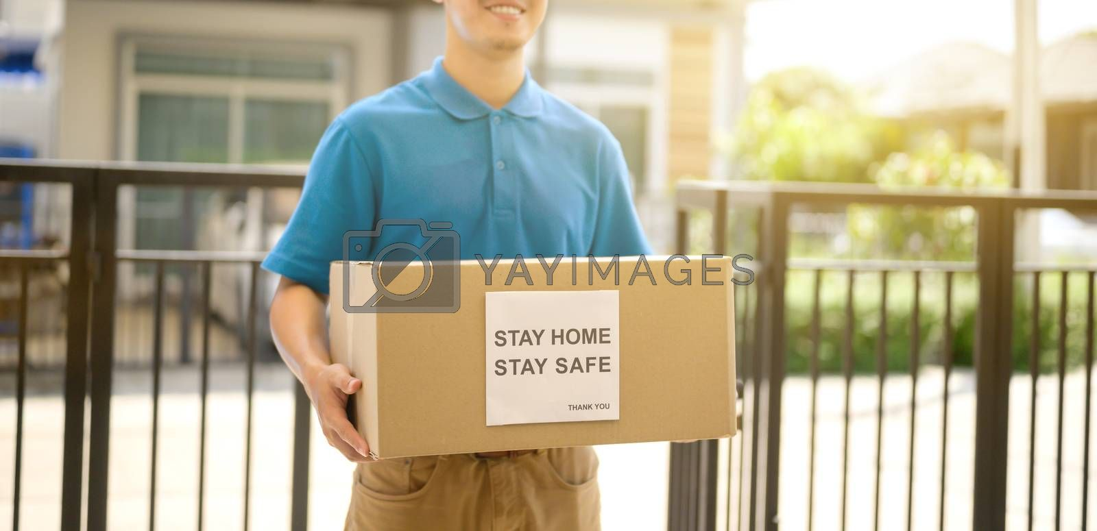 Home delivery when Lock down and Self-quarantine at home. New normal and life after COVID in Thailand, Asia. Social distancing and stay home stay safe.
