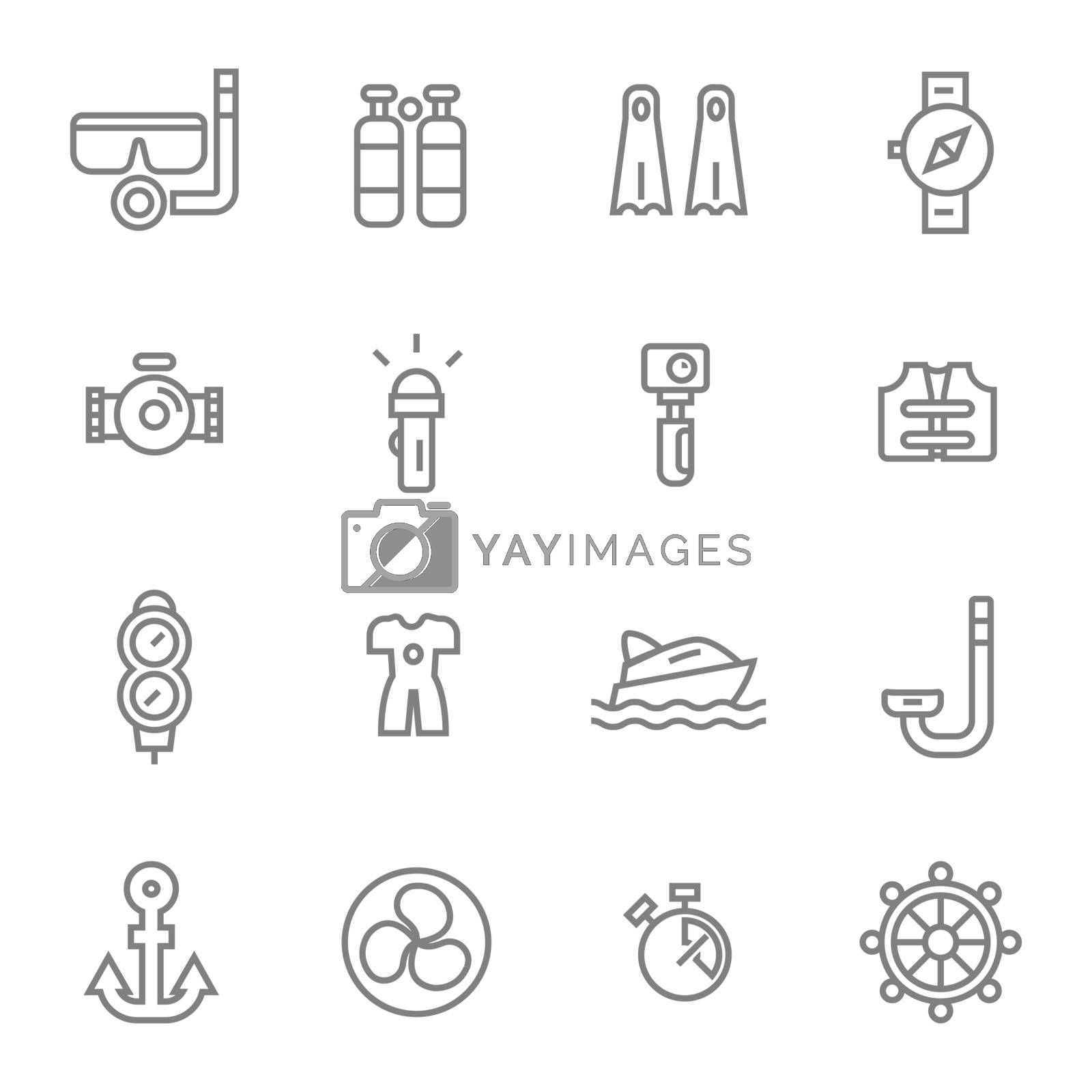 diving simple line icons set by manopjk