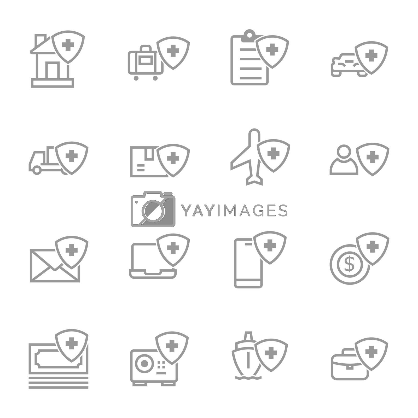 insurance simple line icons set by manopjk