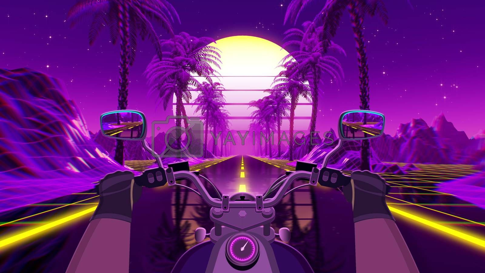 80s retro futuristic sci-fi background with motorcycle pov. Riding in retrowave VJ videogame landscape, neon lights and low poly grid. Stylized biker vintage vaporwave 3D animation background. 4K