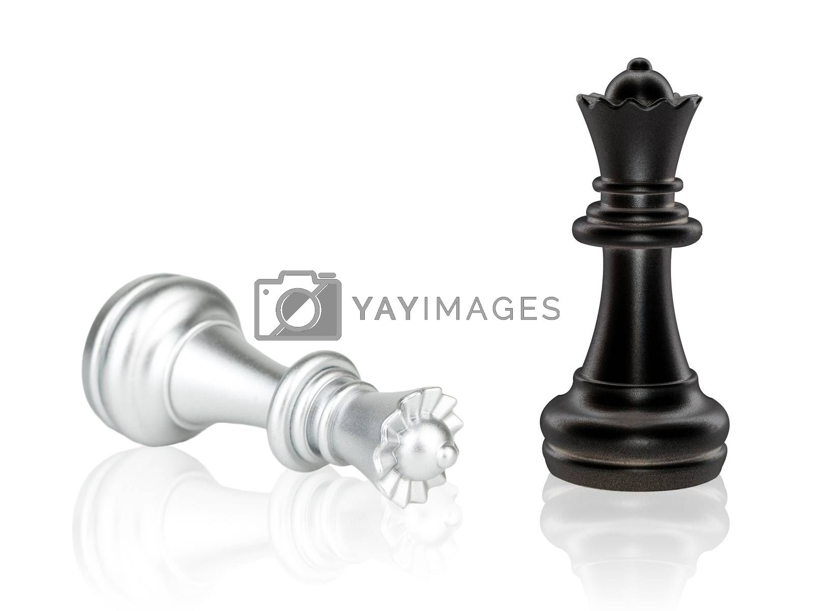 The Queen Chess pieces battle, black and silver isolated on white background