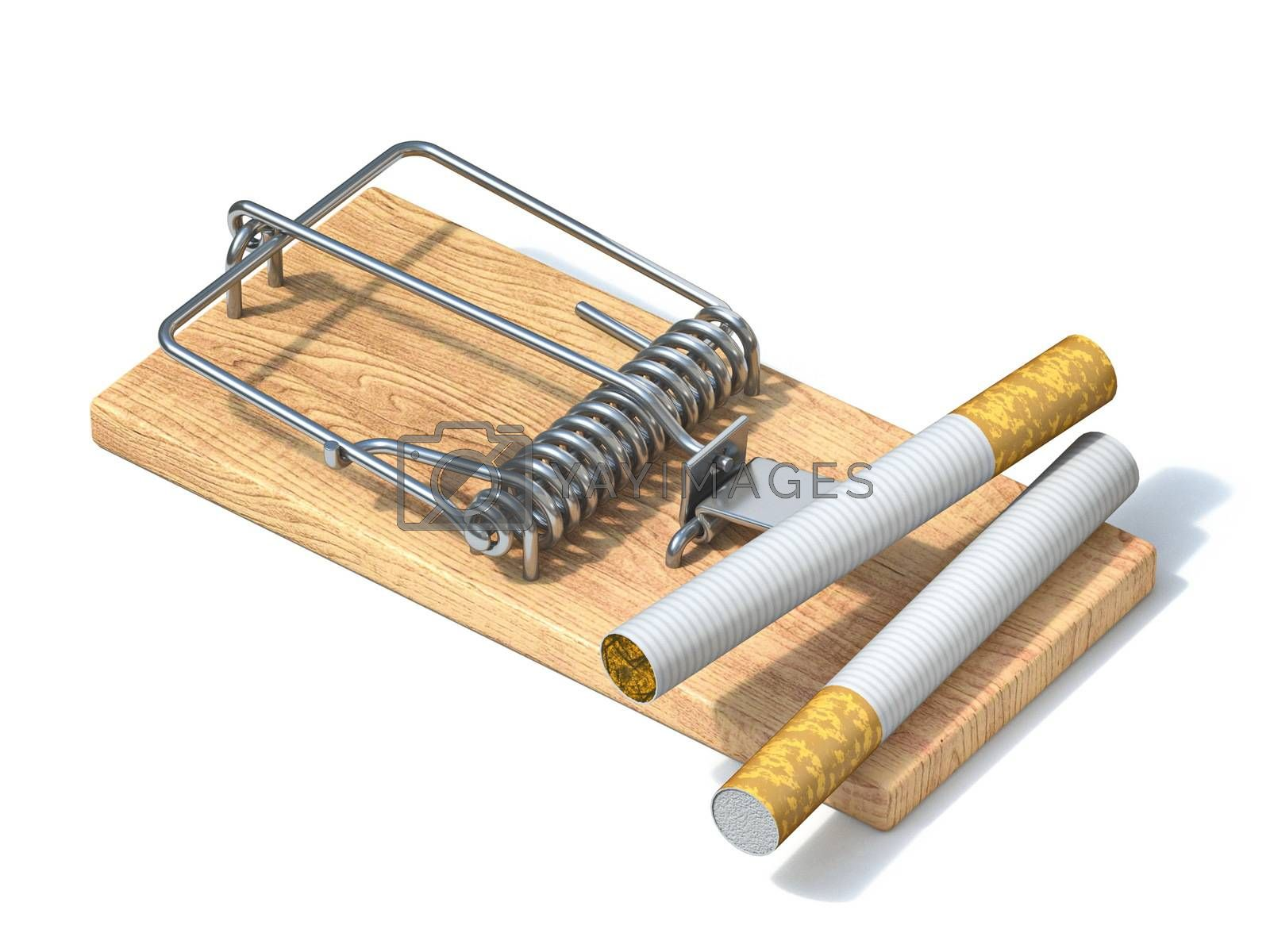 Cigarettes in wooden mousetrap 3D render illustration isolated on white background