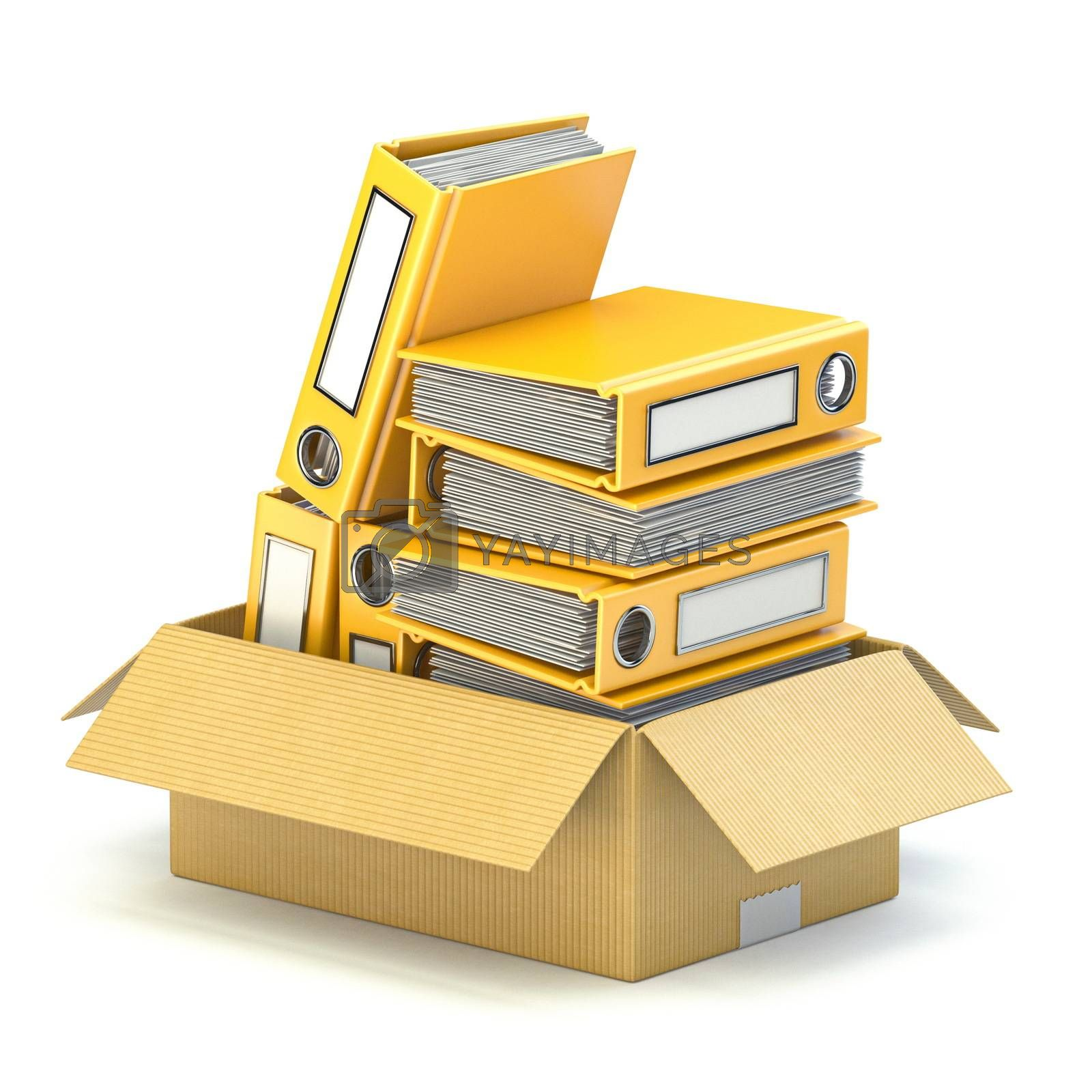 Yellow file folders in cardboard box 3D render illustration isolated on white background