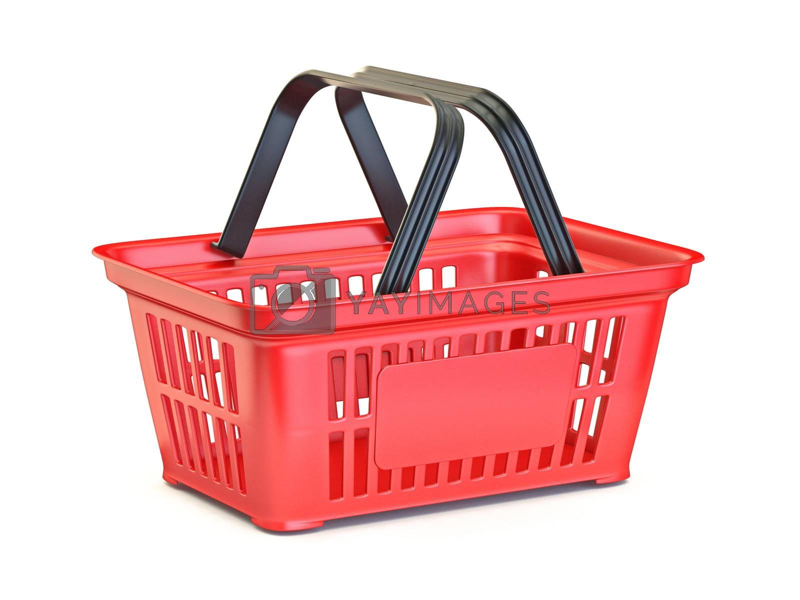 Red shopping basket 3D render illustration isolated on white background