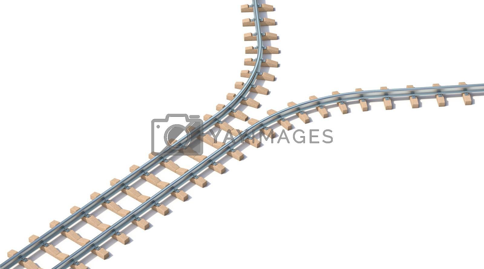 Split railway 3D render illustration isolated on white background