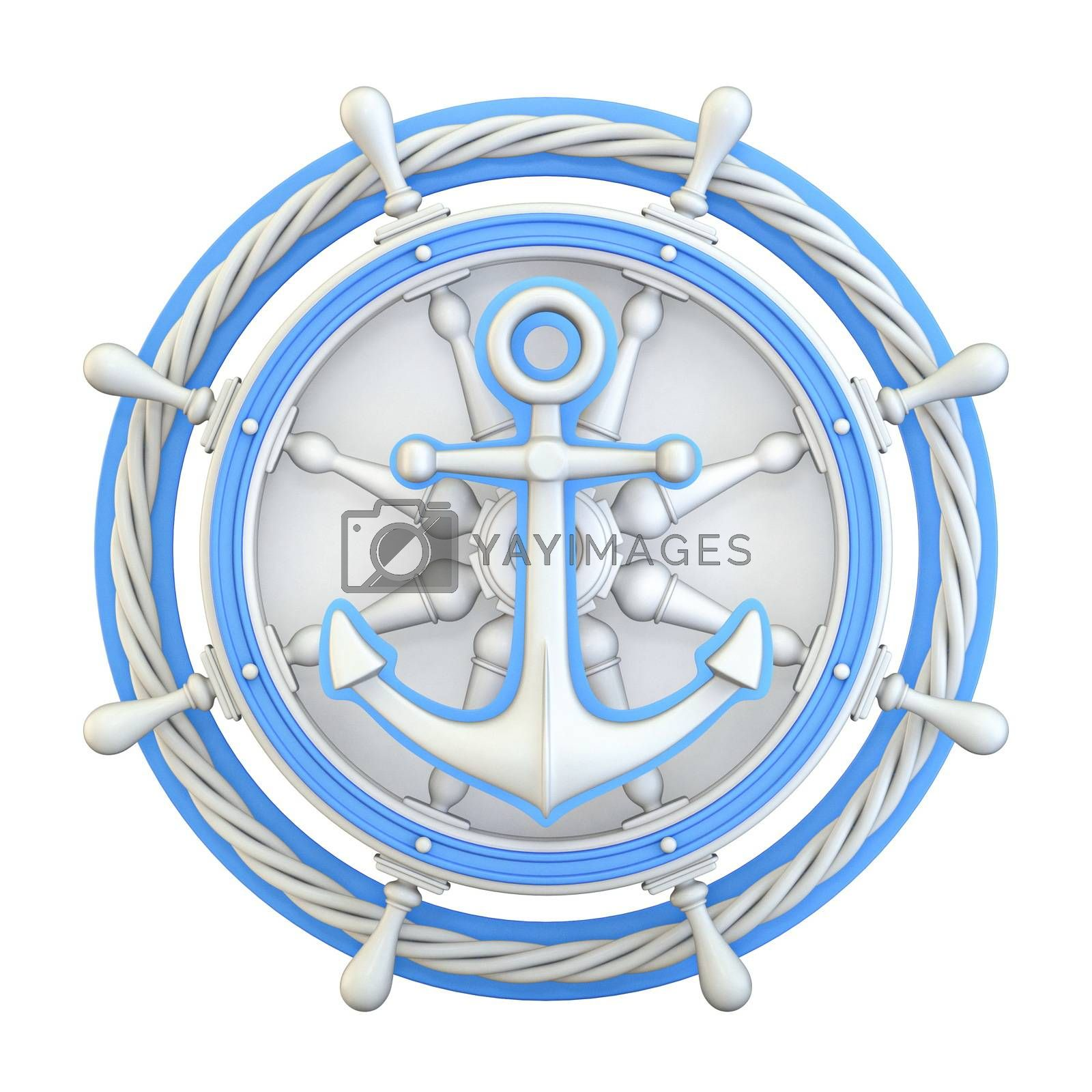 Anchor, ship wheel and rope 3D render illustration isolated on white background