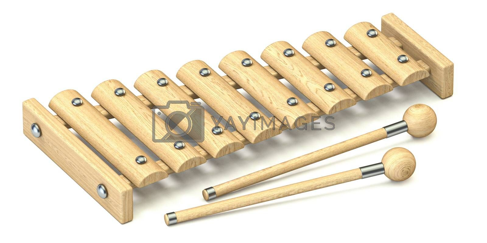 Wooden xylophone 3D render illustration isolated on white background