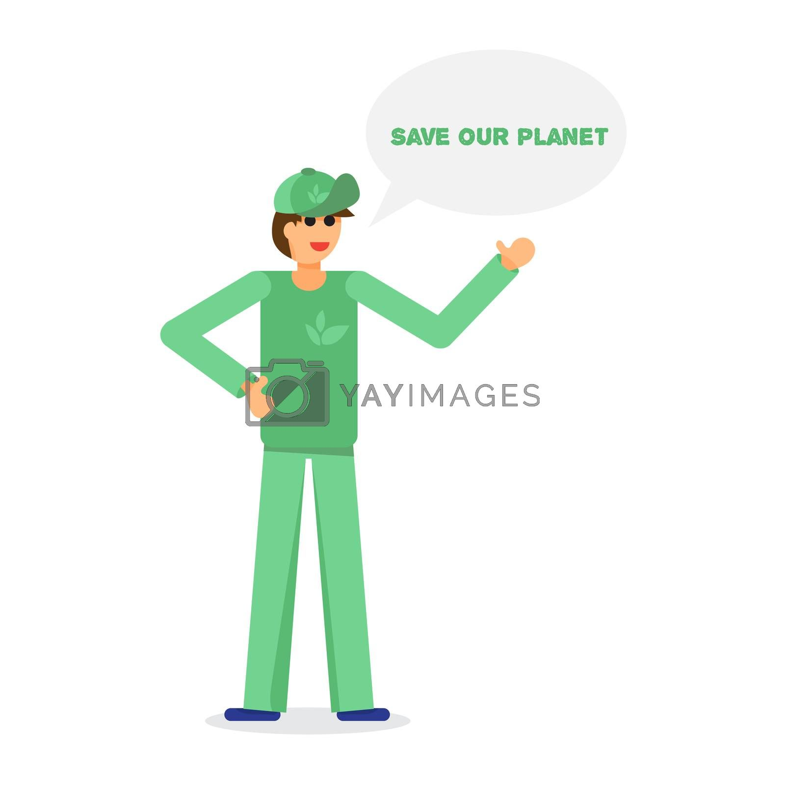Green activist with text. Save our planet. Ecology concept. Vector